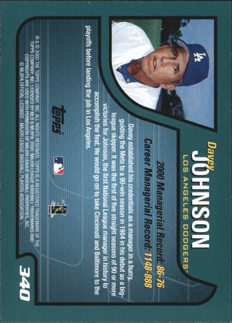 2001 Topps Home Team Advantage #340 Davey Johnson MG back image