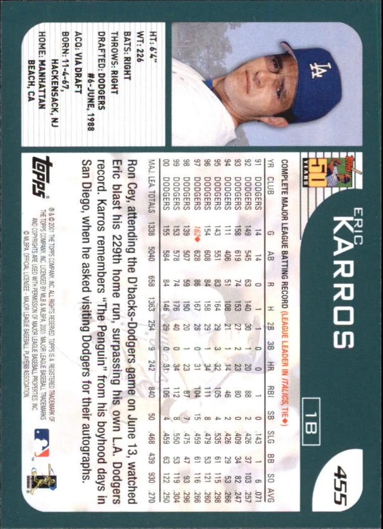 2001 Topps Home Team Advantage #455 Eric Karros back image