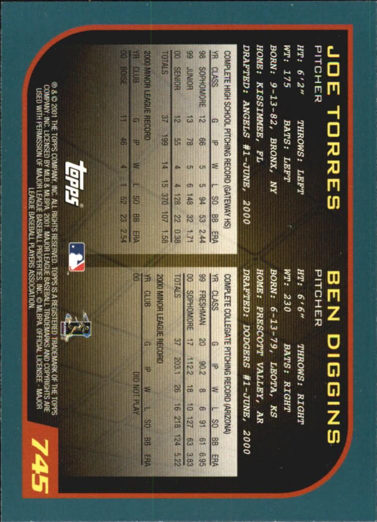 2001 Topps Home Team Advantage #745 J.Torres/B.Diggins back image
