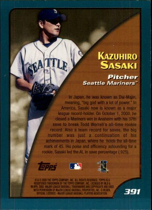 2001 Topps Limited #391 Kazuhiro Sasaki SH back image