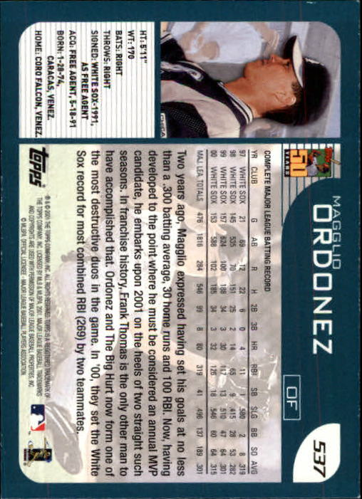 2001 Topps Limited #537 Magglio Ordonez back image