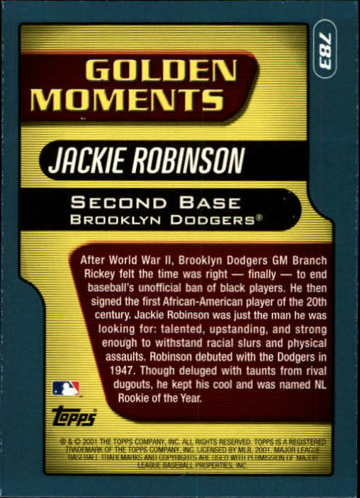 2001 Topps Limited #783 Jackie Robinson GM back image