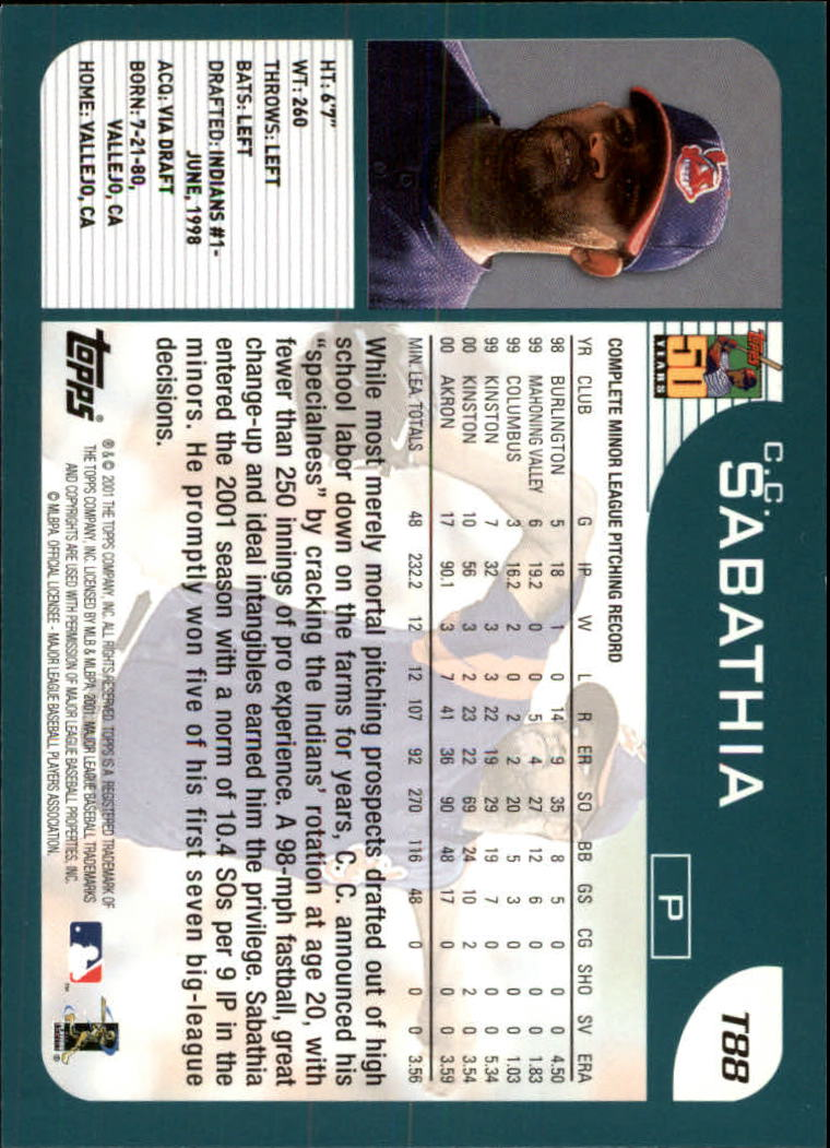 2001 Topps Traded #T88 C.C. Sabathia back image