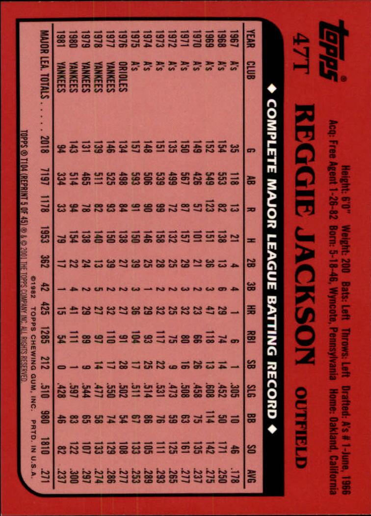 2001 Topps Traded #T104 Reggie Jackson 82 back image