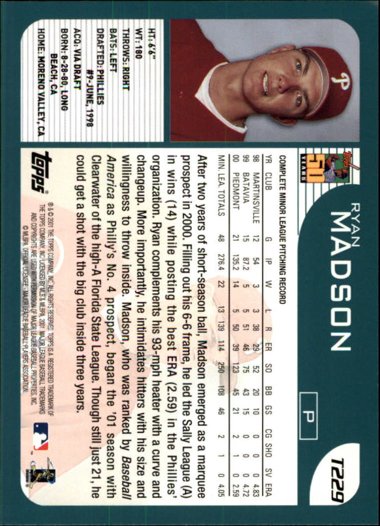 2001 Topps Traded #T229 Ryan Madson RC back image