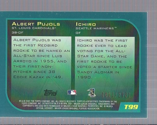2001 Topps Traded Gold #T99 I.Suzuki/A.Pujols ROY back image