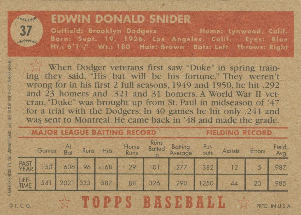 2001 Topps Archives #239 Duke Snider 52 back image