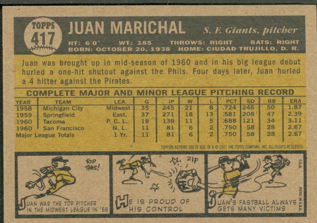 2001 Topps Archives #260 Juan Marichal 61 back image