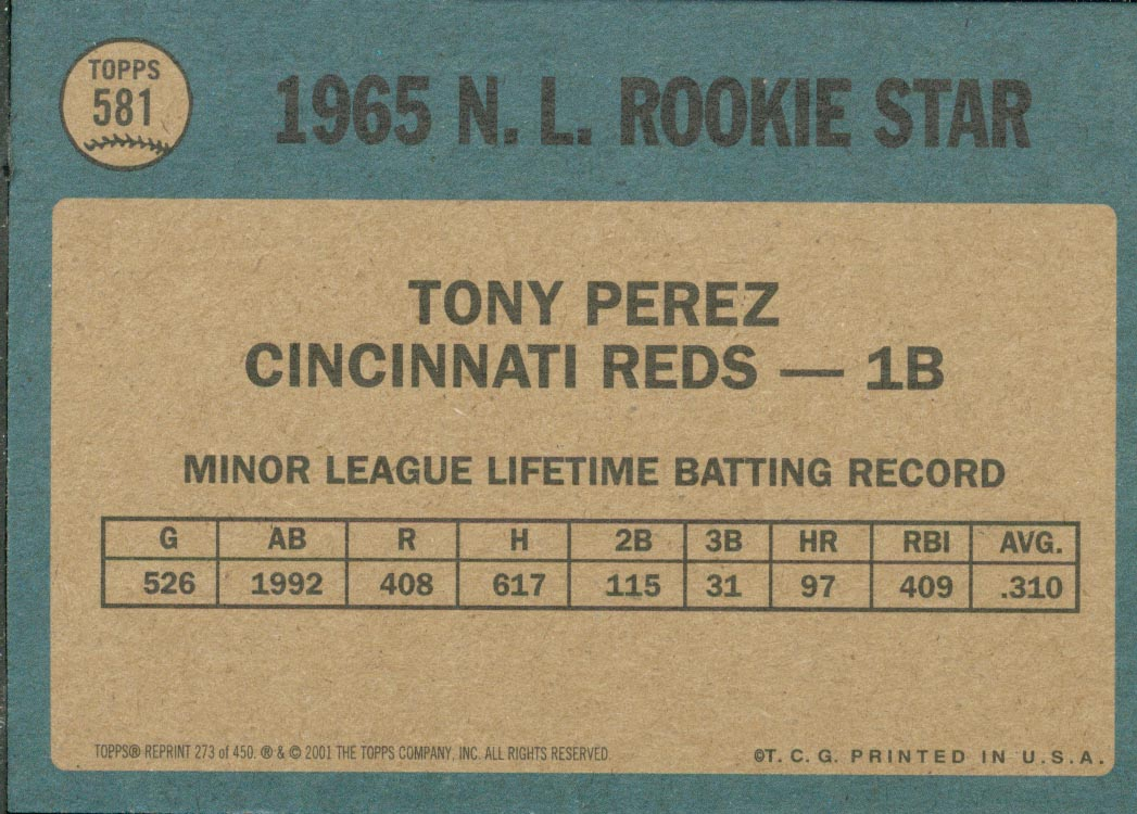2001 Topps Archives #273 Tony Perez 65 back image