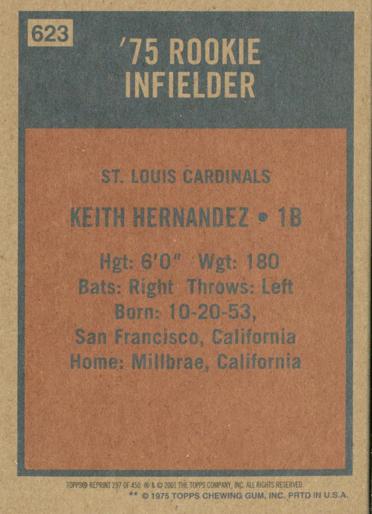 2001 Topps Archives #297 Keith Hernandez 75 back image