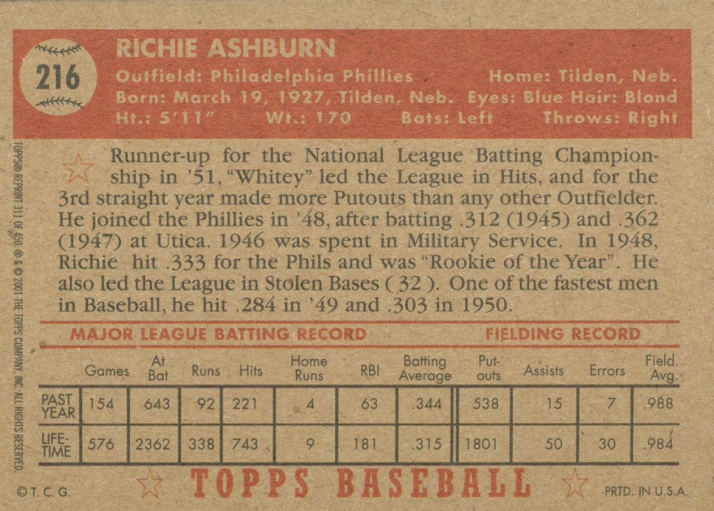 2001 Topps Archives #311 Richie Ashburn 52 back image