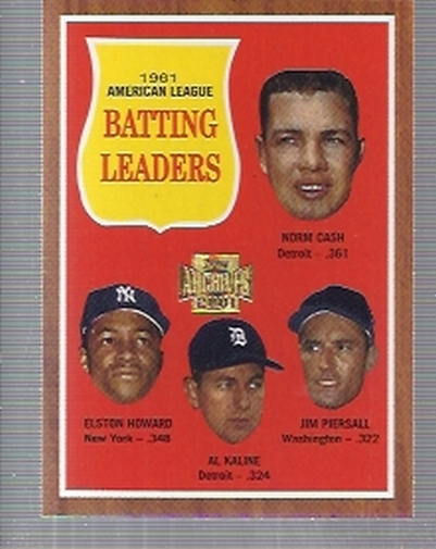 2001 Topps Archives #433 AL Batting Leaders 62