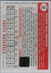 2001 Topps Archives Autographs #TAA5 Dom DiMaggio E1 back image
