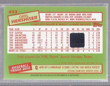 2001 Topps Archives Autographs #TAA168 Orel Hershiser D2 back image