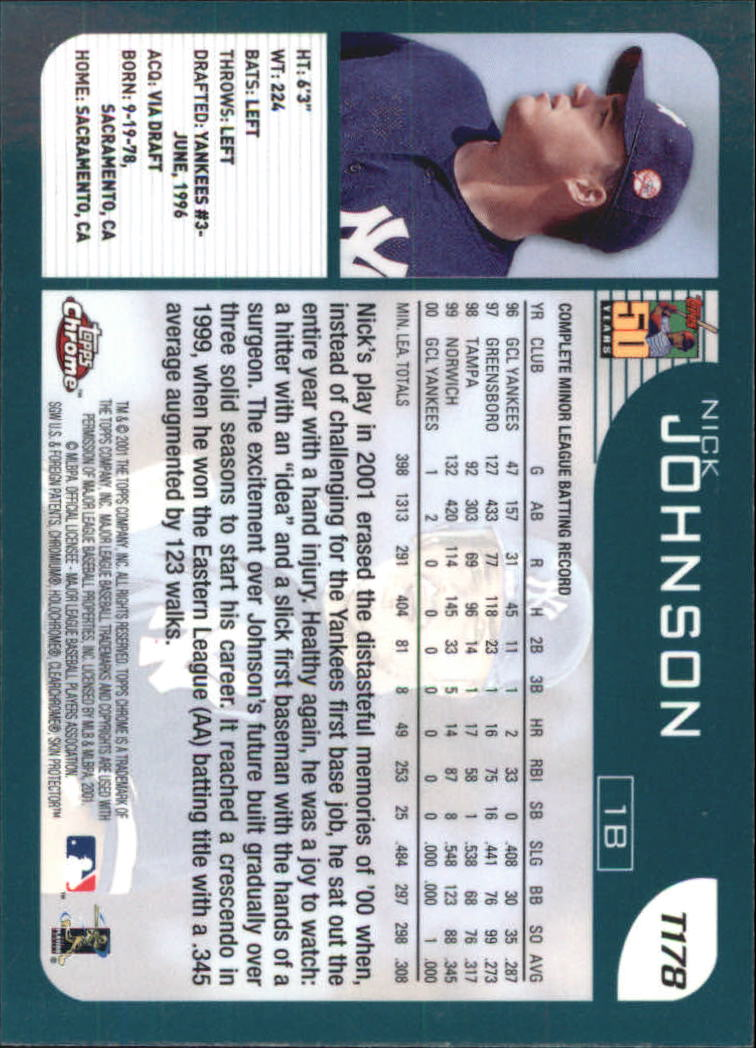 2001 Topps Chrome Traded #T178 Nick Johnson back image