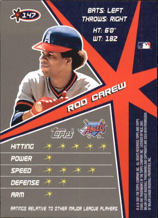 2001 Topps Stars #147 Rod Carew back image