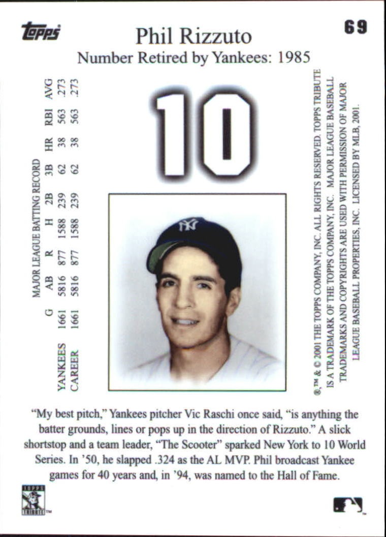 2001 Topps Tribute #69 Phil Rizzuto back image