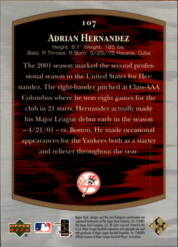 2001 Ultimate Collection #107 Adrian Hernandez T2 RC back image