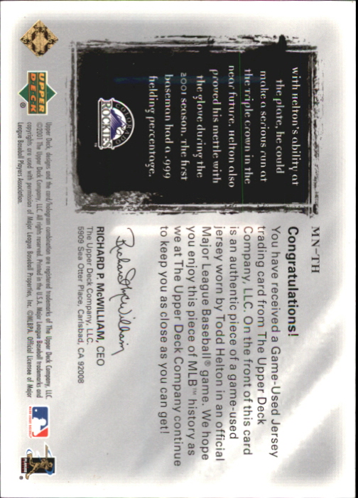 2001 Ultimate Collection Magic Numbers Game Jersey Silver #MNTH Todd Helton back image