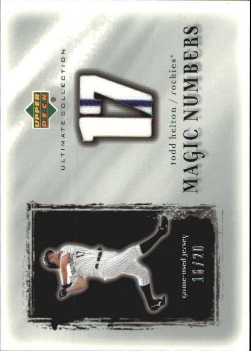 2001 Ultimate Collection Magic Numbers Game Jersey Silver #MNTH Todd Helton