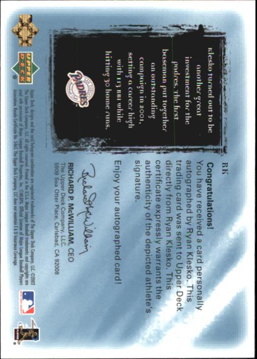 2001 Ultimate Collection Signatures #RK Ryan Klesko back image