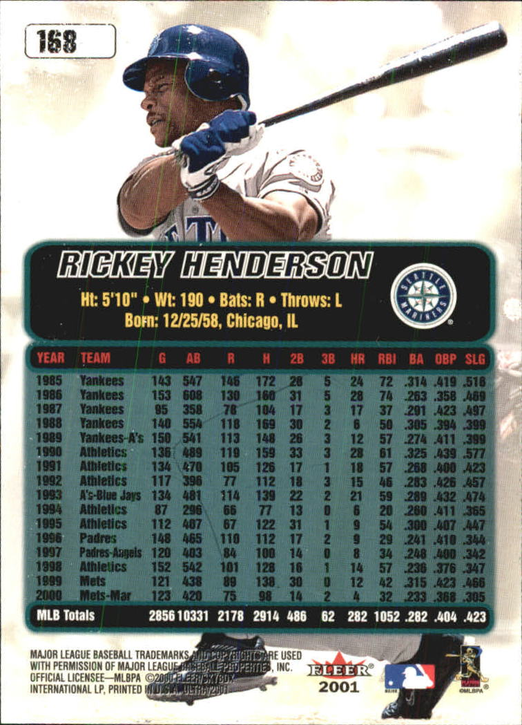 2001 Ultra #168 Rickey Henderson back image