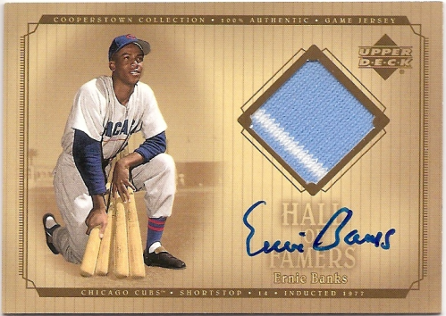 2001 Upper Deck Hall of Famers Game Jersey Autograph #SJEB Ernie Banks