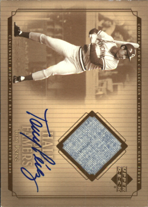 2001 Upper Deck Hall of Famers Game Jersey Autograph #SJTP Tony Perez