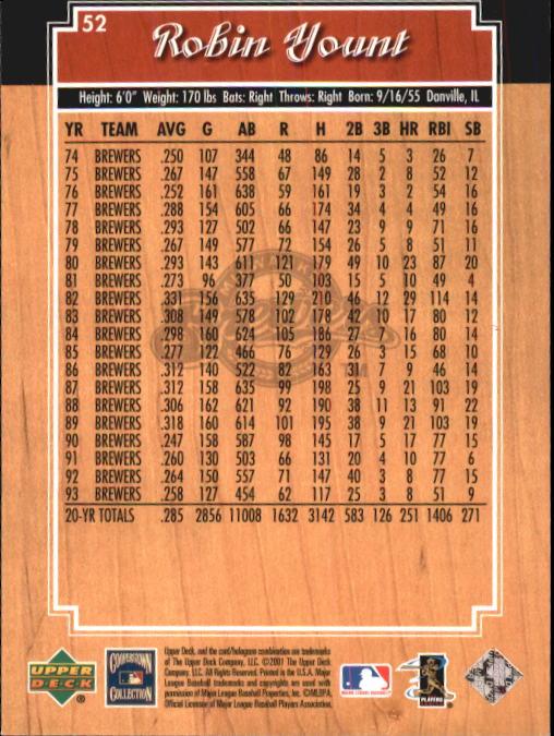 2001 Upper Deck Legends #52 Robin Yount back image