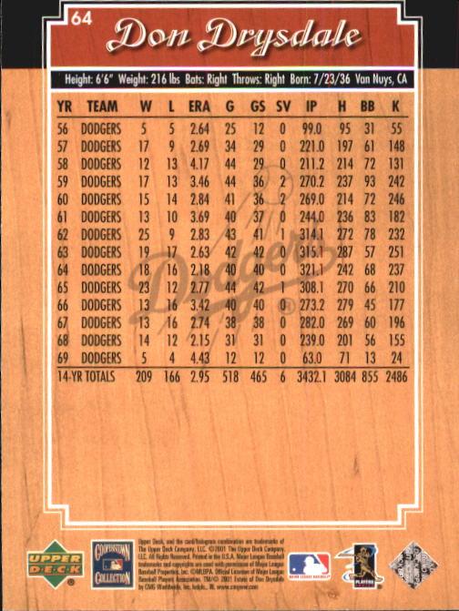 2001 Upper Deck Legends #64 Don Drysdale back image