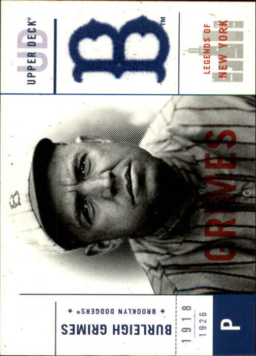 2001 Upper Deck Legends of NY #3 Burleigh Grimes