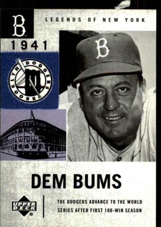 2001 Upper Deck Legends of NY #14 Billy Herman DB