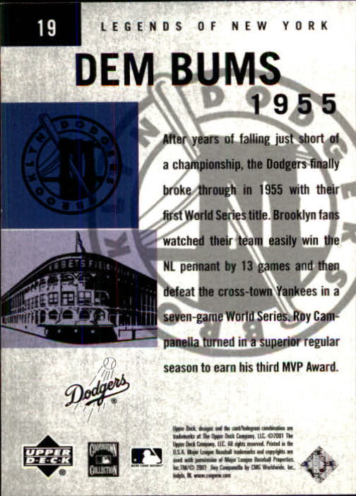 2001 Upper Deck Legends of NY #19 Roy Campanella DB back image
