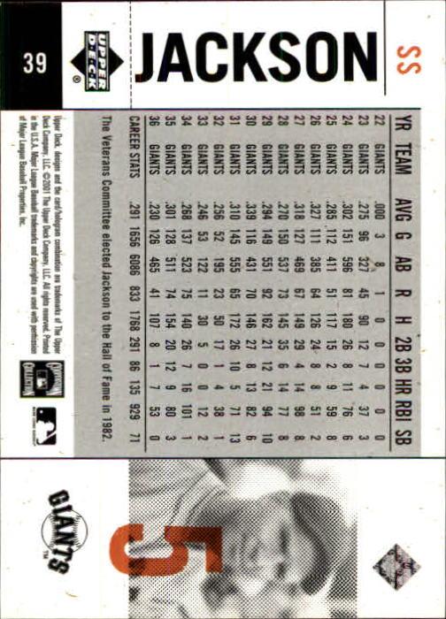 2001 Upper Deck Legends of NY #39 Travis Jackson back image