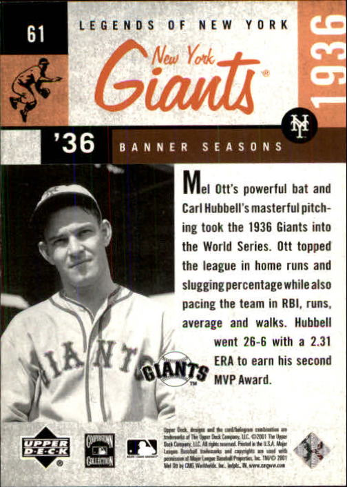 2001 Upper Deck Legends of NY #61 Mel Ott BNS back image
