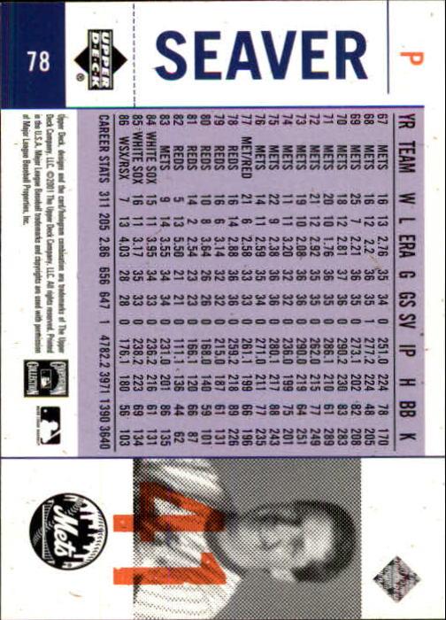 2001 Upper Deck Legends of NY #78 Tom Seaver back image