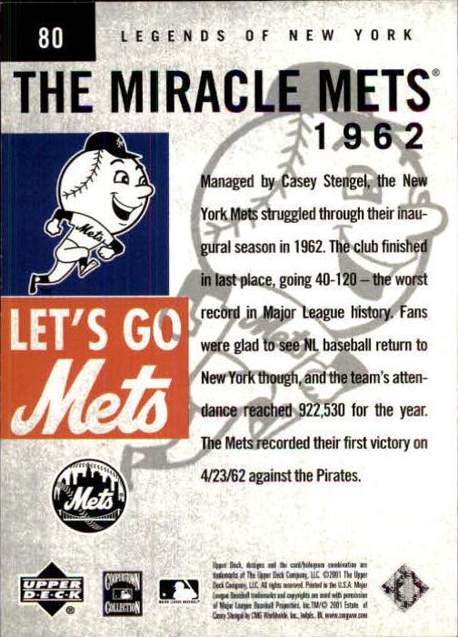 2001 Upper Deck Legends of NY #80 Casey Stengel MM back image