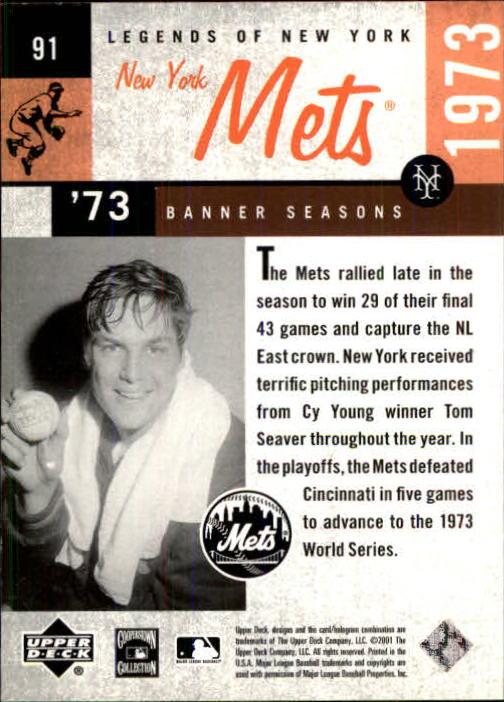 2001 Upper Deck Legends of NY #91 Tom Seaver BNS back image