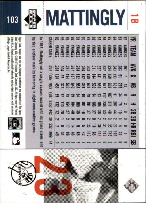 2001 Upper Deck Legends of NY #103 Don Mattingly back image