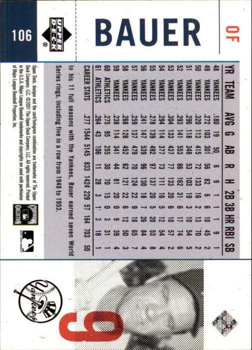 2001 Upper Deck Legends of NY #106 Hank Bauer back image