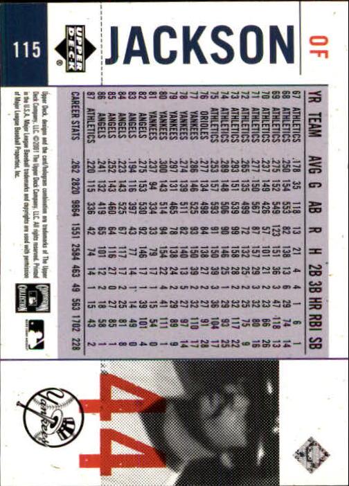2001 Upper Deck Legends of NY #115 Reggie Jackson back image
