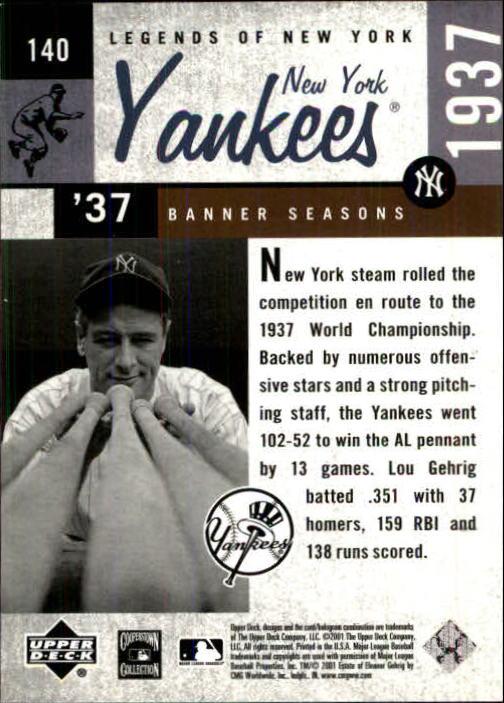 2001 Upper Deck Legends of NY #140 Lou Gehrig BNS back image
