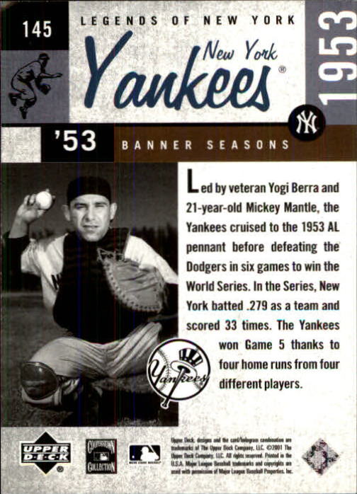 2001 Upper Deck Legends of NY #145 Yogi Berra BNS back image