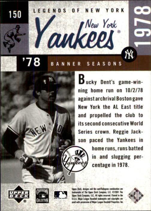 2001 Upper Deck Legends of NY #150 Reggie Jackson BNS back image