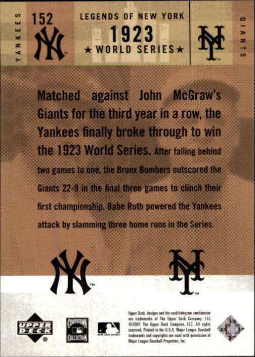 2001 Upper Deck Legends of NY #152 B.Ruth/J.McGraw back image