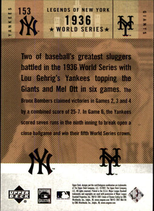 2001 Upper Deck Legends of NY #153 L.Gehrig/M.Ott back image