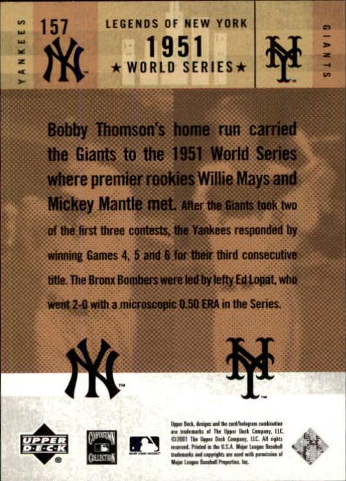 2001 Upper Deck Legends of NY #157 M.Mantle/B.Thomson back image