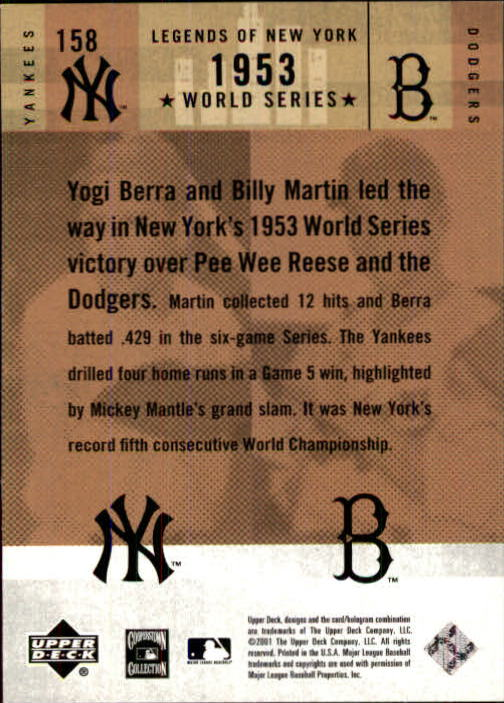 2001 Upper Deck Legends of NY #158 Y.Berra/P.Reese back image
