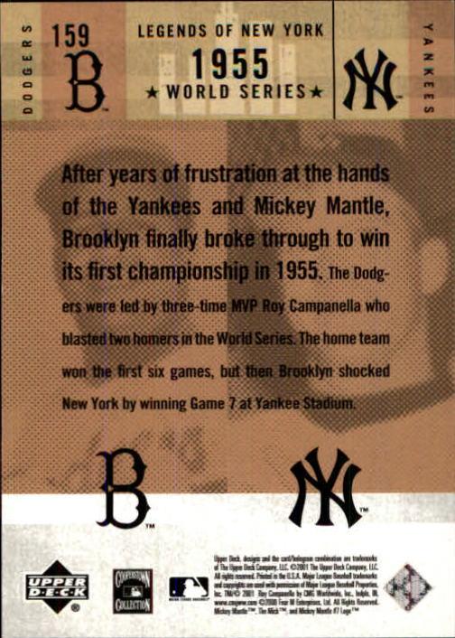 2001 Upper Deck Legends of NY #159 R.Campanella/M.Mantle back image