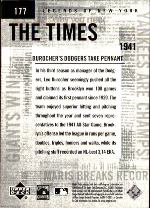 2001 Upper Deck Legends of NY #177 Leo Durocher TT back image